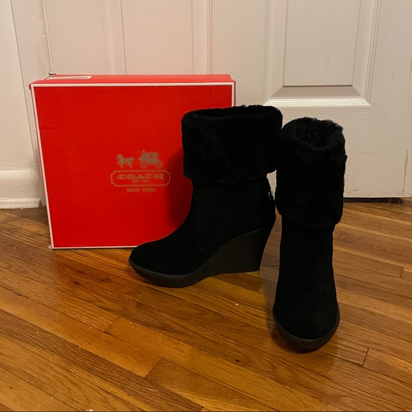Coach Shearling Wedge Boots Black Suede Winona 8